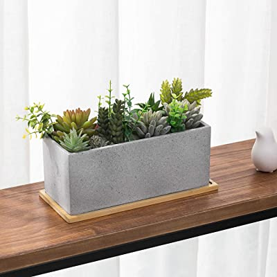 MyGift 11.5 Inch Rectangular Cement Planter with Bamboo Tray : Garden & Outdoor