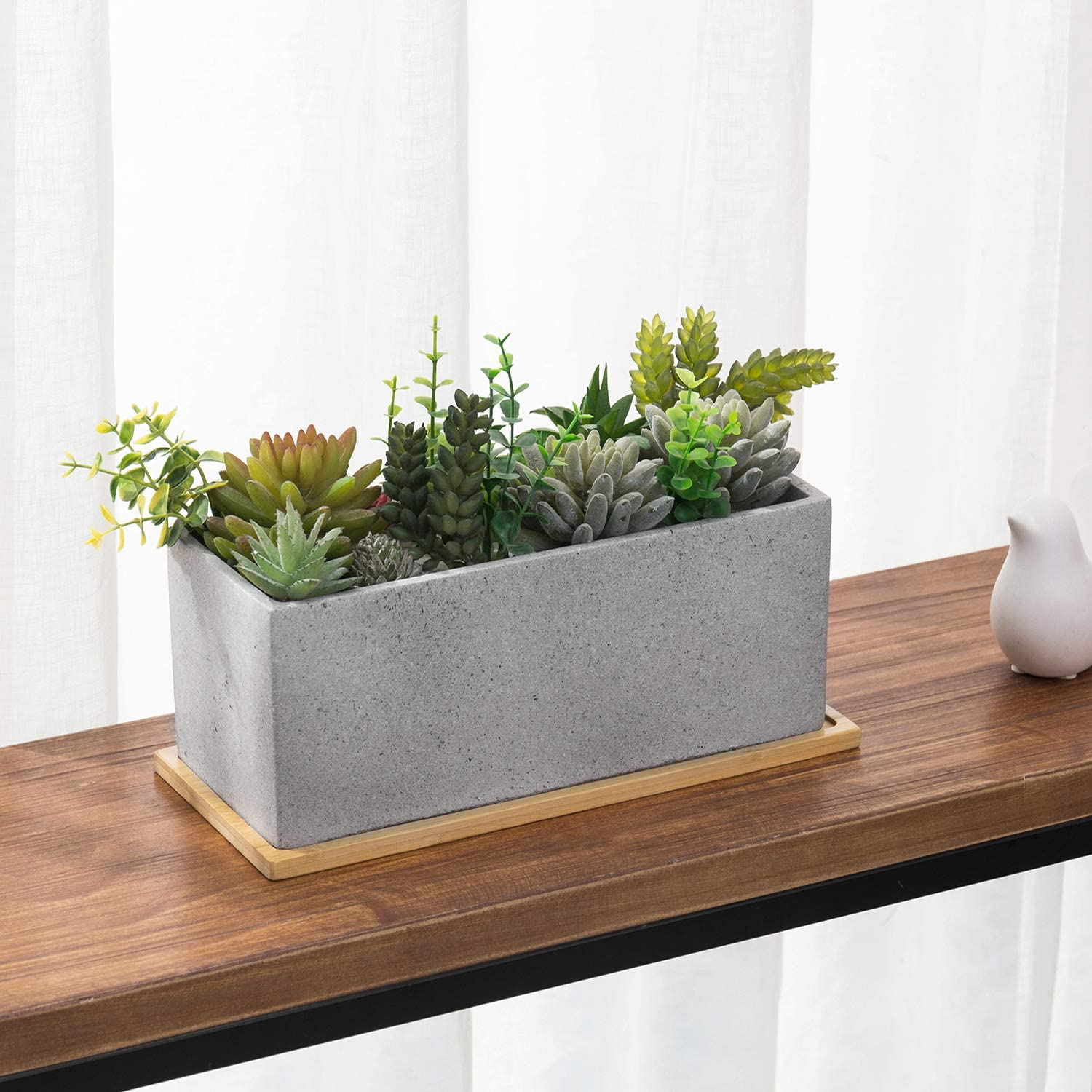 MyGift 11.5 Inch Rectangular Cement Planter with Bamboo Tray