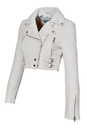 A1 Fashion Goods White Leather Womens Biker Jacket Short Cropped