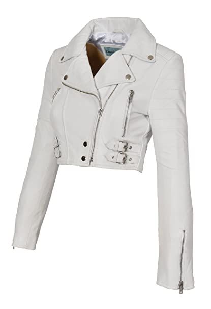65886fe51 A1 FASHION GOODS White Leather Womens Biker Jacket Short Cropped ...