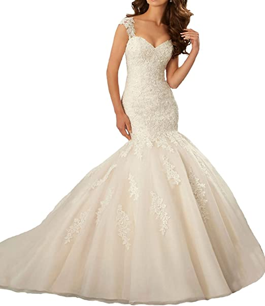 Alanre Womens Mermaid Scalloped Neck Bride Gown Lace