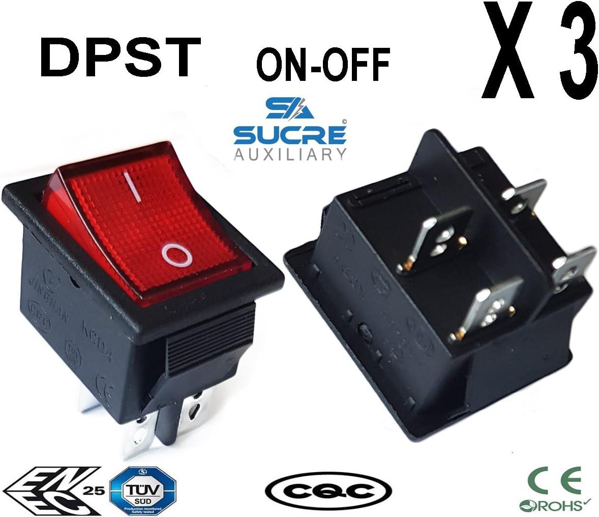 16 A 250 VAC redondo rectangular cuadrado interruptor basculante interruptor coche veh/ículo barco salpicadero interruptores