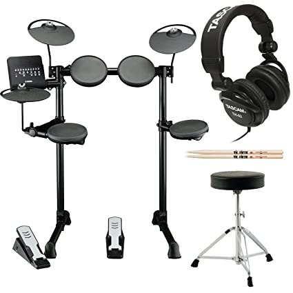 Yamaha DTX400K Customizable Electronic Drum Set With Throne Vic Firth 5A Drumsticks And Stereo
