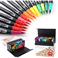 100 Colors Dual Tip Brush Pens Highlighter Art Markers 0.4mm Fine Liners & Brush Tip Watercolor Pen Set for Adult and…