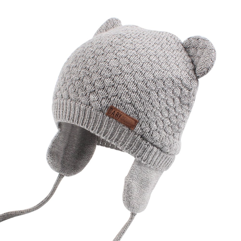 Cutegogo Baby Infant Earflap Beanie Hat Toddler Boys Girls Winter Warm Crochet Cap 0-24Months