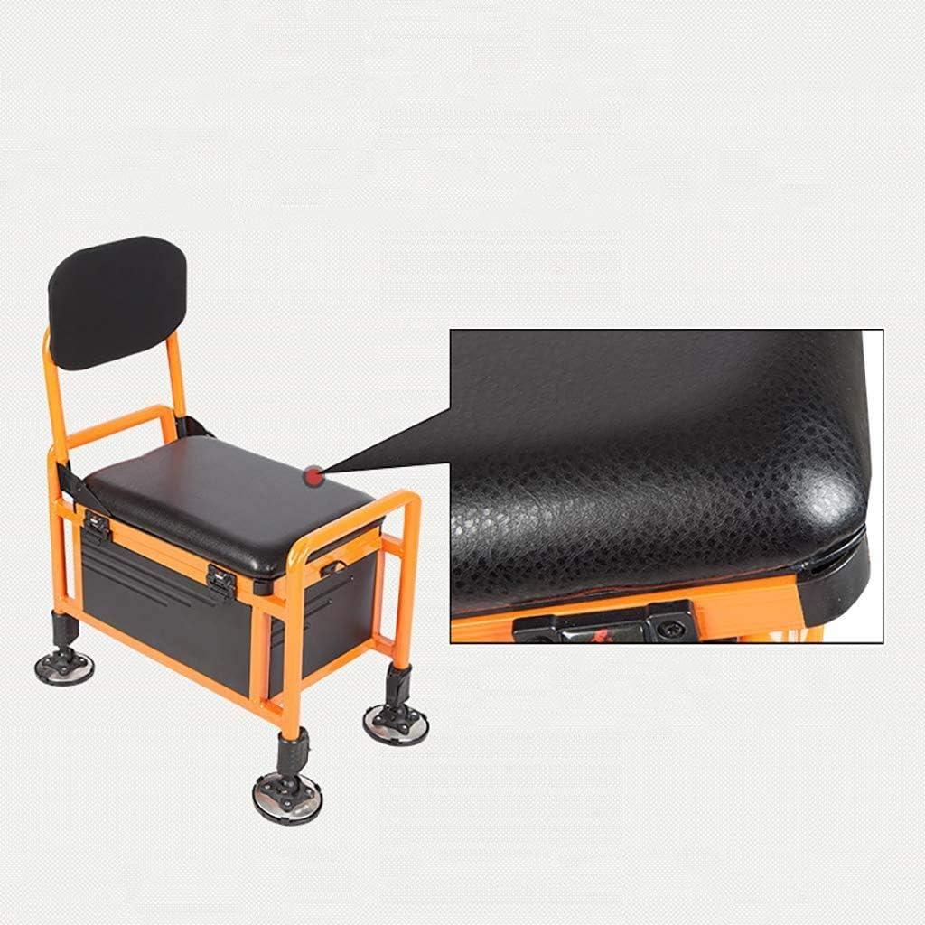 ZFF Portable Bo/îte De P/êche Chaise avec Si/ège /Épaississant Aluminium Bo/îte De P/êche Pliant Dossier Engins P/êche Accessoires Espace Rangement Glaci/ère S/èche pour La P/êche