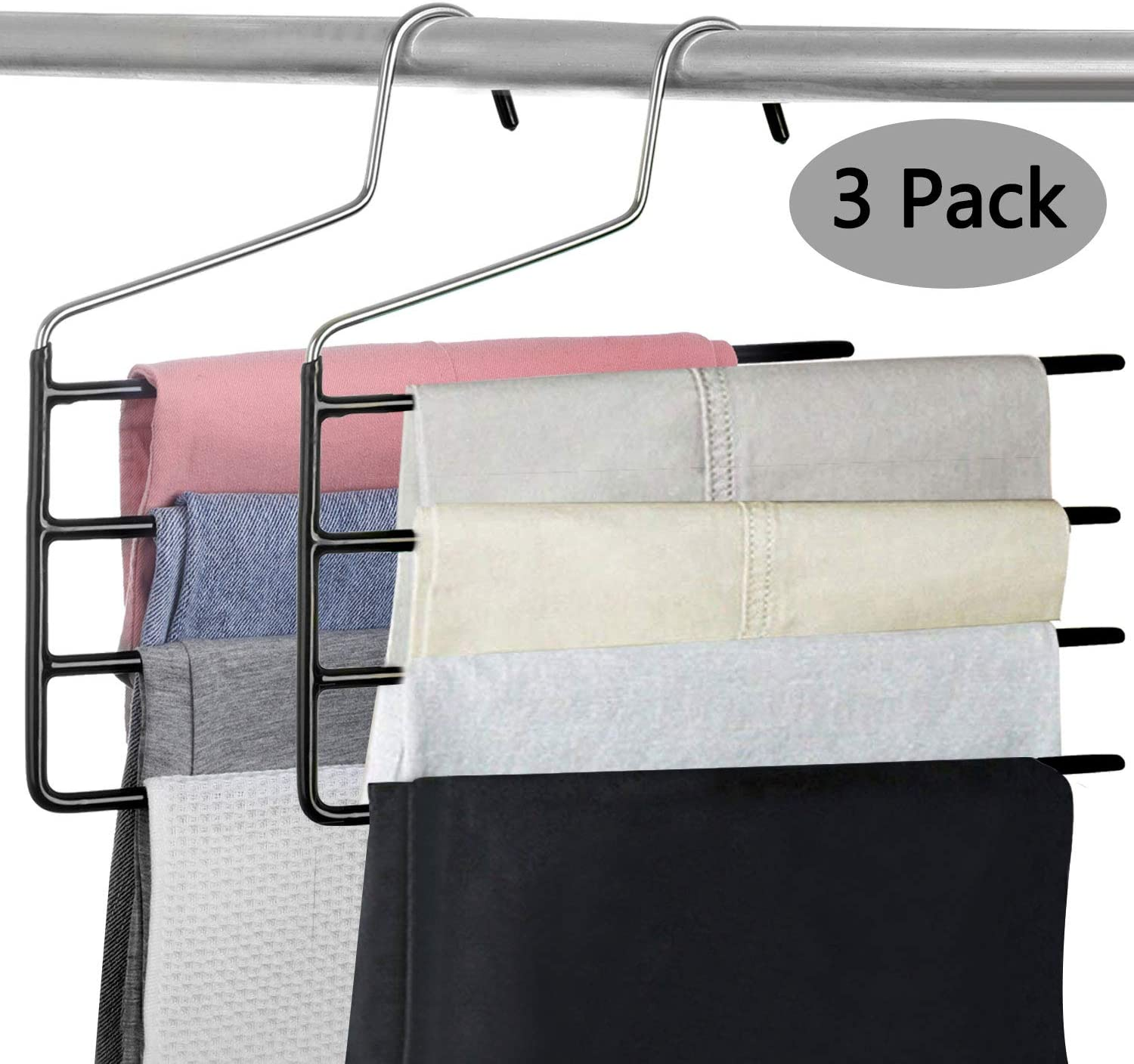 Pants Hanger Multi-Layer Jeans Trouser Hanger Closet Stainless Steel Rack Space Saver for Tie Scarf Shock Jeans Towel Clothes(3 Pack )
