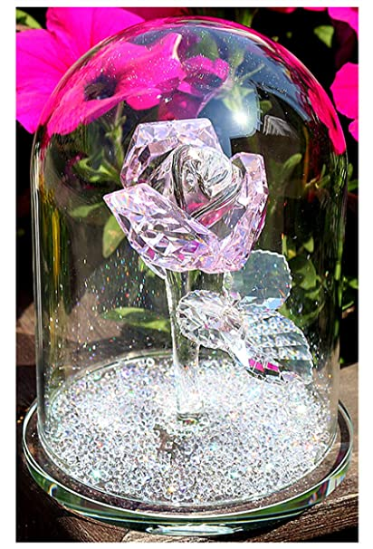 H D Crystal Pink Rose Flower Glass Dome Flower Paperweight Crystal Figurine Collectible Statue Wedding Table Centerpiece Ornament