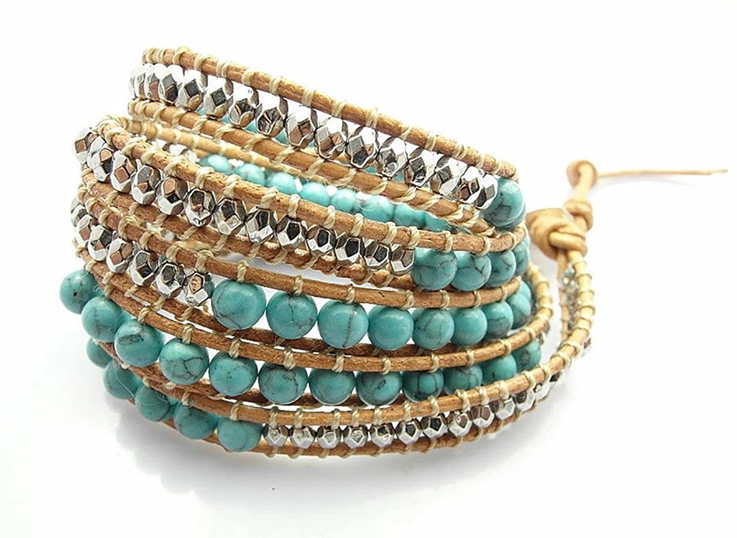 M&B Women's Authentic Turquoise Stone and Silver Bead Wrap Leather Bracelet or Accessory (Authentic Turquoise) 002-000-MB
