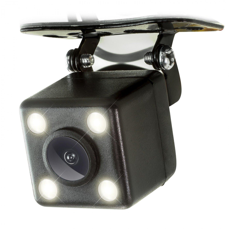 XOMAX XM-020 Retrocamera / Telecamera per retromarcia con 4 LED luci + Comoda e sicura per parcheggiare + Ampio angolo di visione 170° + PAL / NTSC + RCA connettore + DC 12V