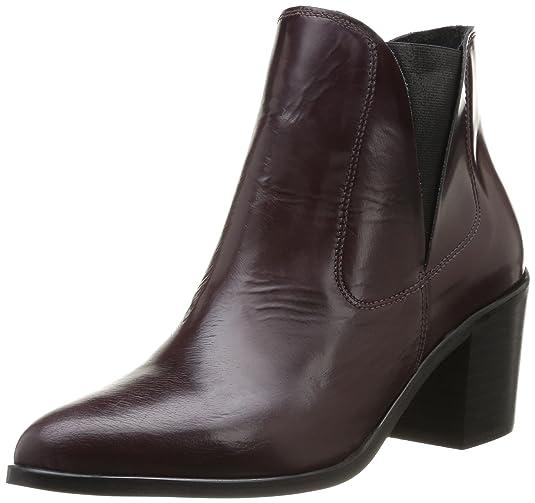 PIECES Umiko Leather Boot Polido, Damen Stiefel, Violett (Violet (Burgundy)), 41 EU