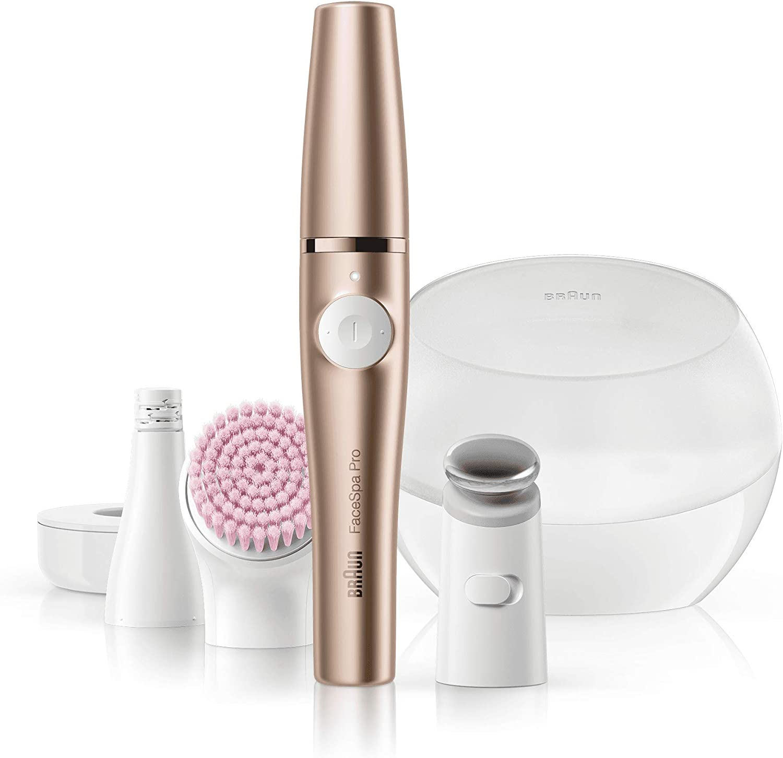 Braun Facespa Pro 921 - Sistema para Depilación y Limpieza 3 en 1, con Depiladora Facial, Cepillo Facial y Cabezal Tonificador, Base Cargadora, Bronce