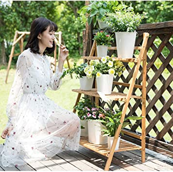 Ufine Bamboo Ladder Plant Stand 3 Tier Foldable Flower Pot Display Shelf Rack for Indoor Outdoor Home Patio Lawn Garden Balcony Organizer Planter Holder
