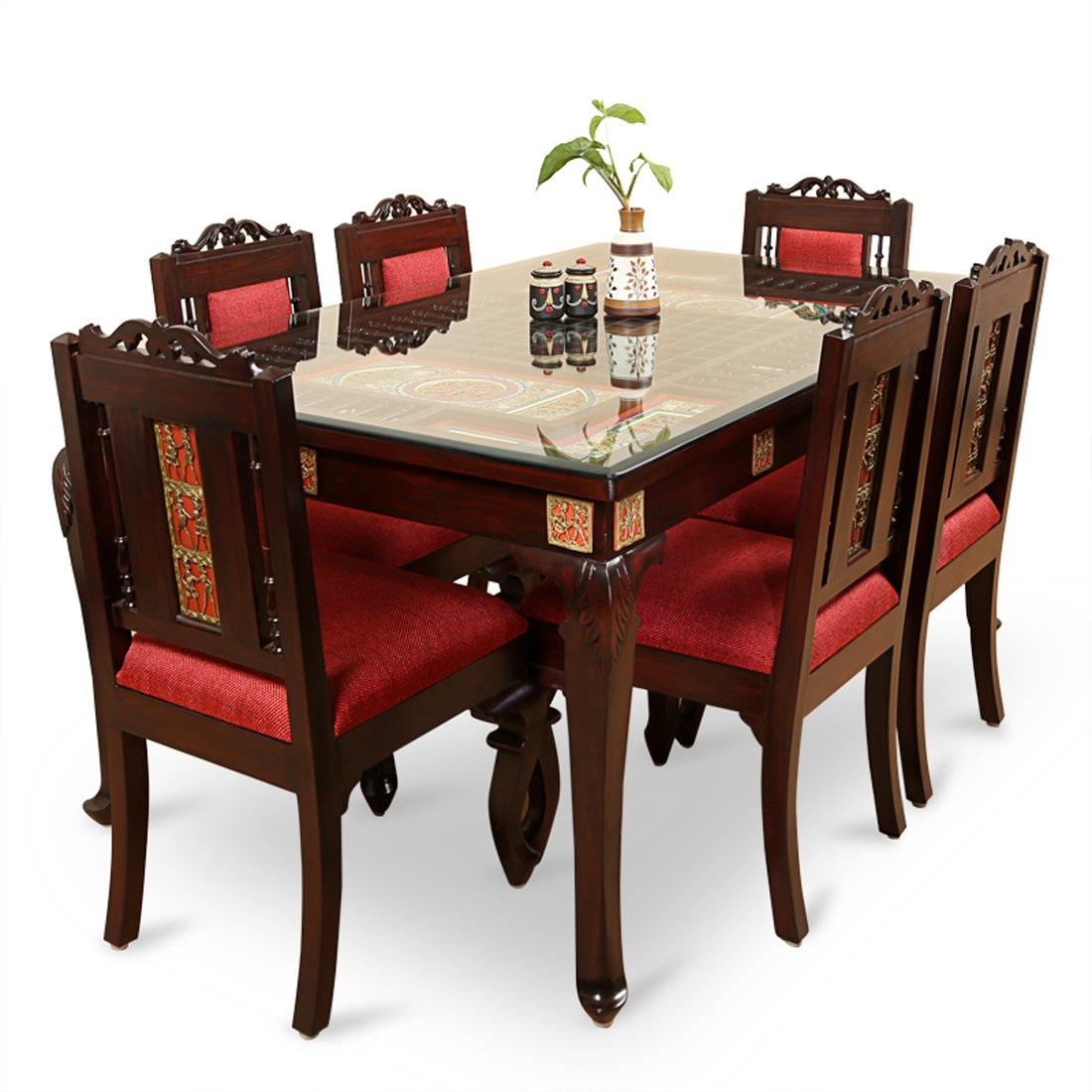 Exclusivelane Teak Wood Table And Chair With Warli And Dhokra Work 6 Seater Dining Set Amazon In Electronics