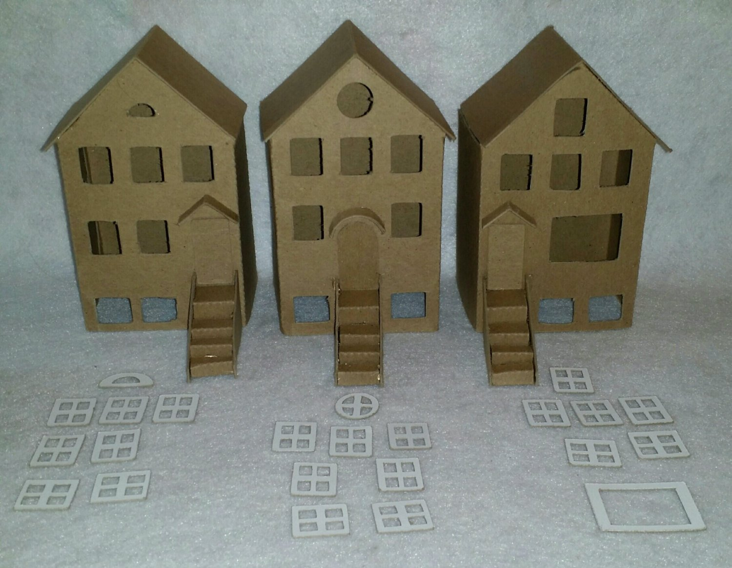 Putz Style DIY Cardboard Townhouses/City Homes- Set of 3 with Flicker Light Hole