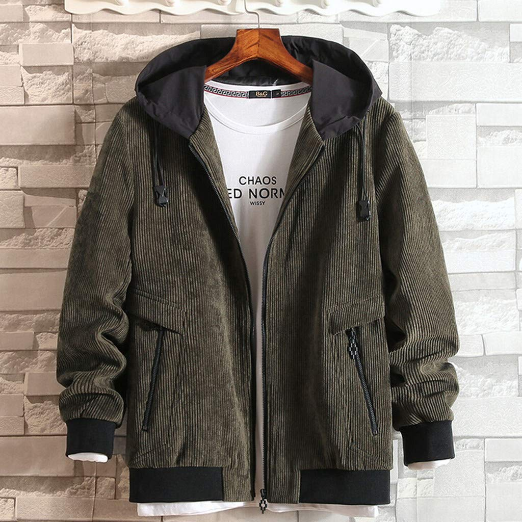 Army Green Balakie Balakie Balakie Mens Autumn Winter Casual Solid Grain Hoodie Zipper Pocket Jacket Coat aa0ac1
