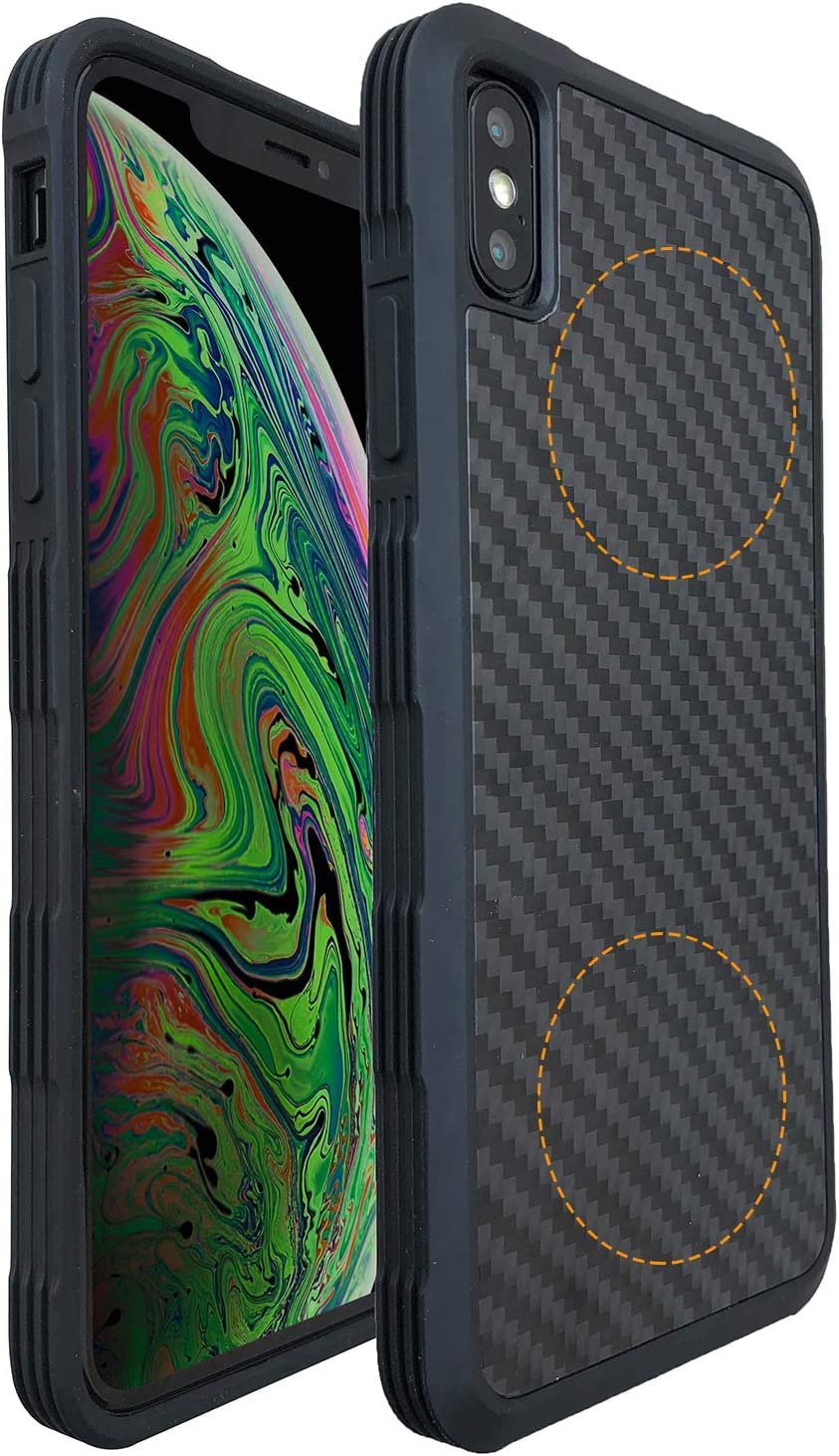 Molzar Carbono Series iPhone Xs Max Case with TPU and Real Weave Carbon Fiber, Built-in Metal Plates for Magnetic Phone Mount,Support Wireless Charging,Compatible with Apple iPhone Xs Max, Black/Black