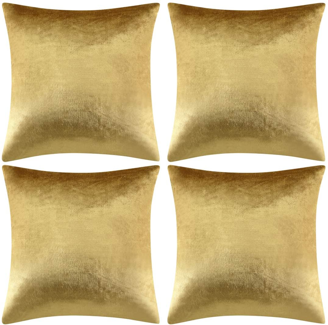 GIGIZAZA Decorative Throw Pillow Covers 20 x 20, Gold Sofa Pillow Covers Velvet, Set of 4 Decor Square Cushion Covers
