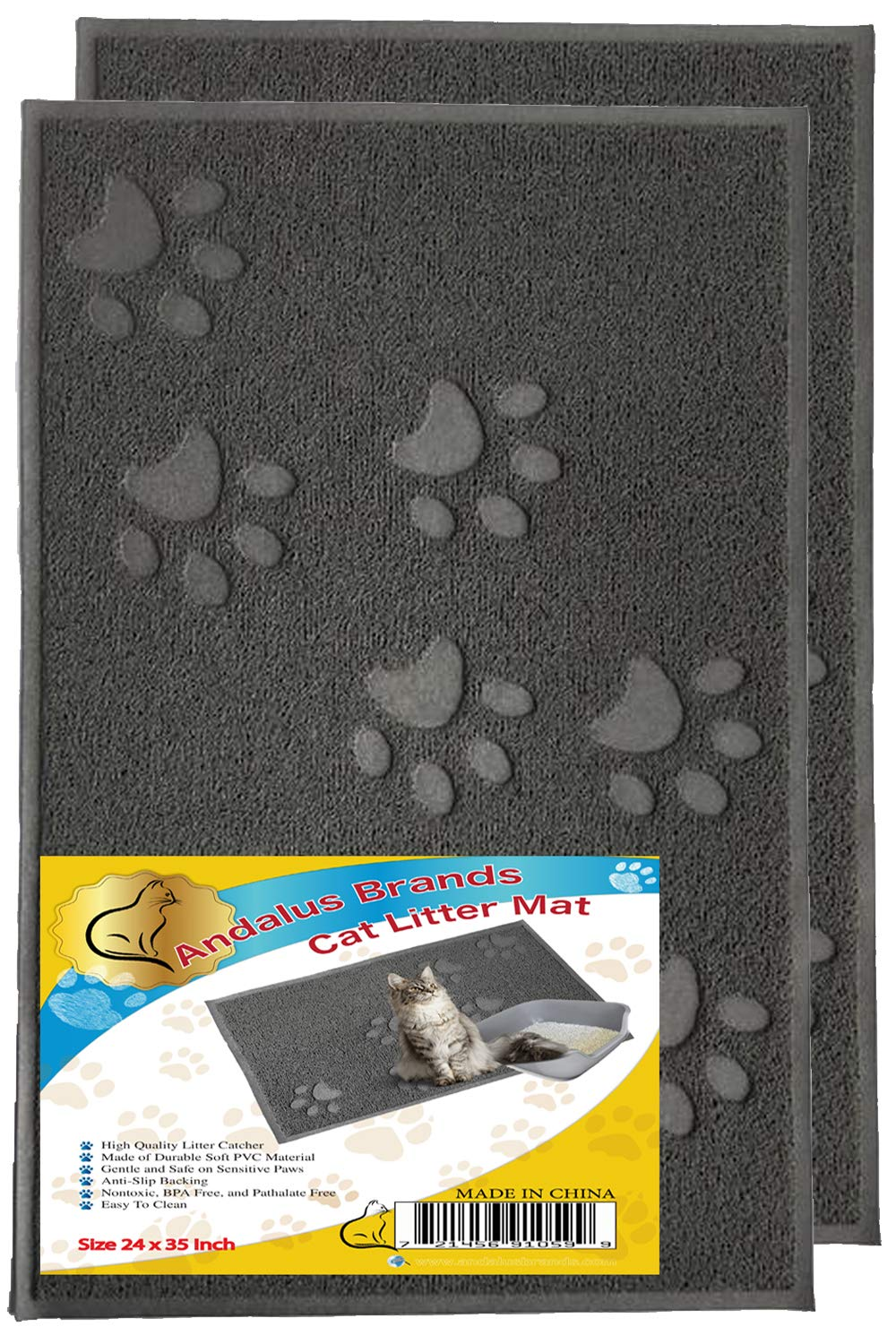 ANDALUS Cat Litter Mat, Gray, X-Large (35'' x 24''), 2 Pack by Andalus Brands