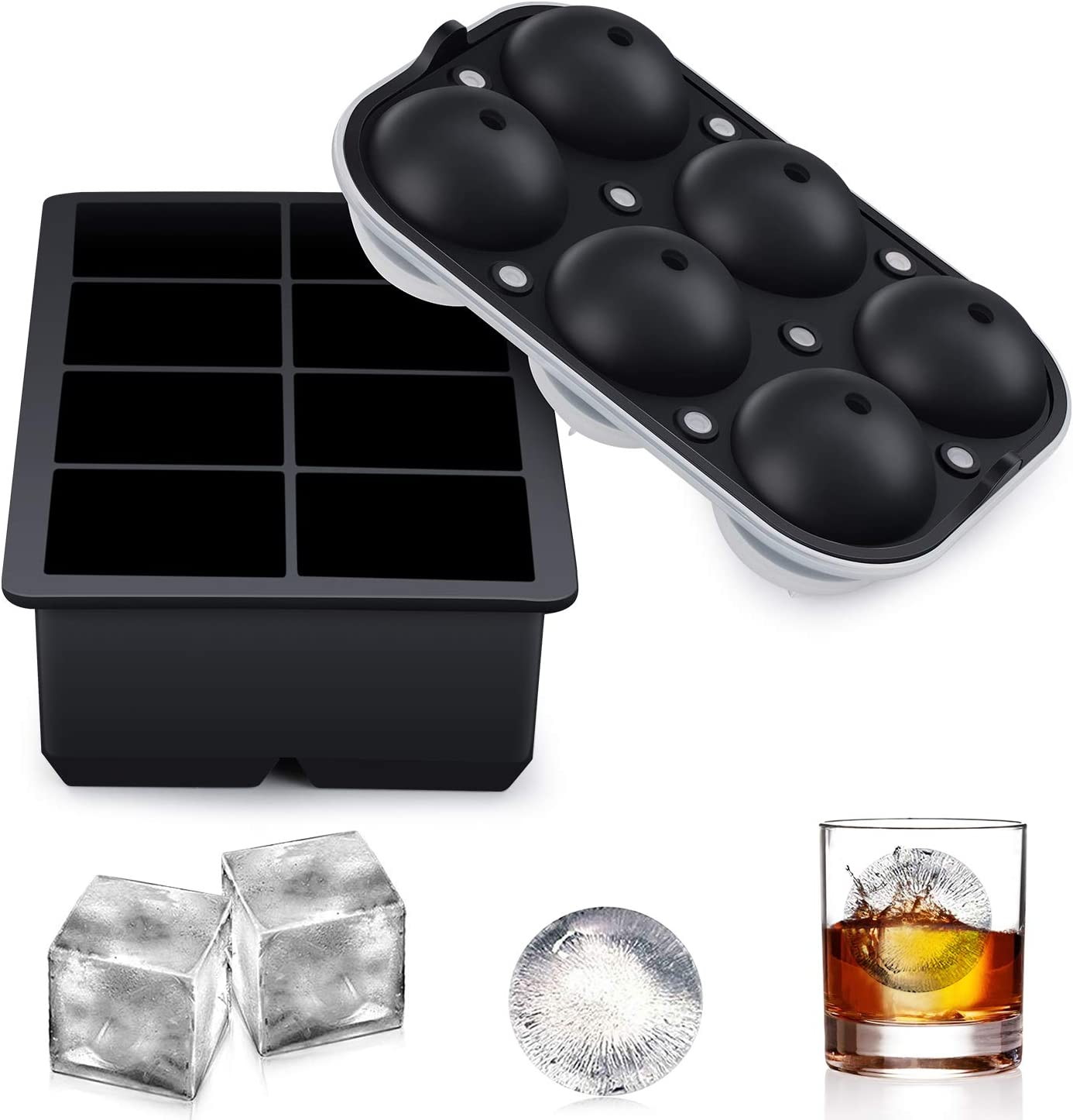 DoeDoe Ice Cube Trays Silicone Set of 2, Upgrade Sphere Ice Ball Maker with Lid and Large Square Ice Cube Molds for Whiskey, Reusable and BPA Free Ice Cube Tray Set