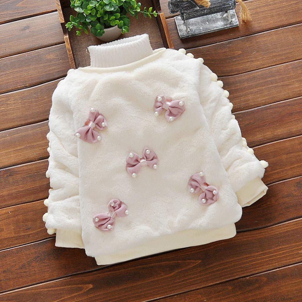 Kids Baby Girls Clothes Long Sleeves Warm Bowknot Villus Tops Coat Outwear