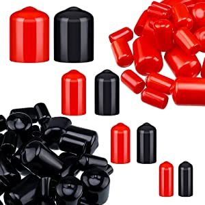 80 Pieces Rubber End Caps Flexible Bolt Covers Screw Caps Thread Protectors in 4 Sizes 1/4 to 3/4 Inch (Black, Red)