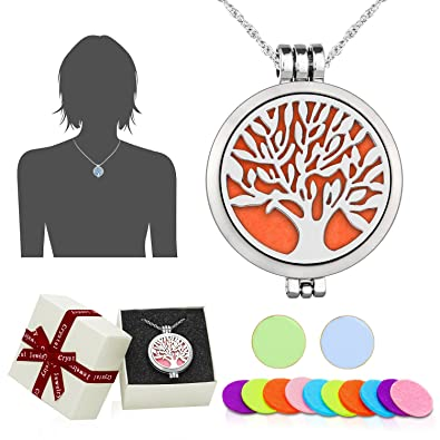 Aromatherapy Essential Oil Diffuser Pendant Necklacewawj Life Tree
