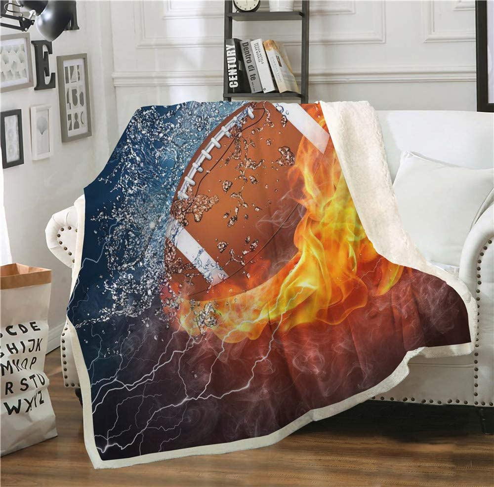Abojoy American Football Rugby Fleece Kids Throw Blanket Fire and Ice Flames Pattern Double-Sided Lightweight Super Soft Cozy Luxury Fuzzy Fannel Plush Bed Blanket for Kids Boys Teen