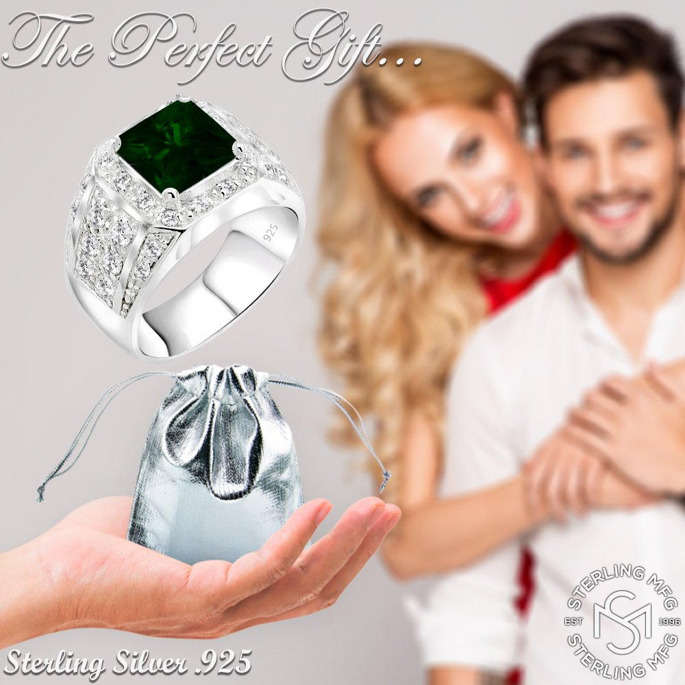 Men's Elegant Sterling Silver .925 Ring High Polish Princess Cut Featuring a Synthetic Green Emerald and 32 Fancy Round Cubic Zirconia (CZ) Stones by Sterling Manufacturers (Image #7)