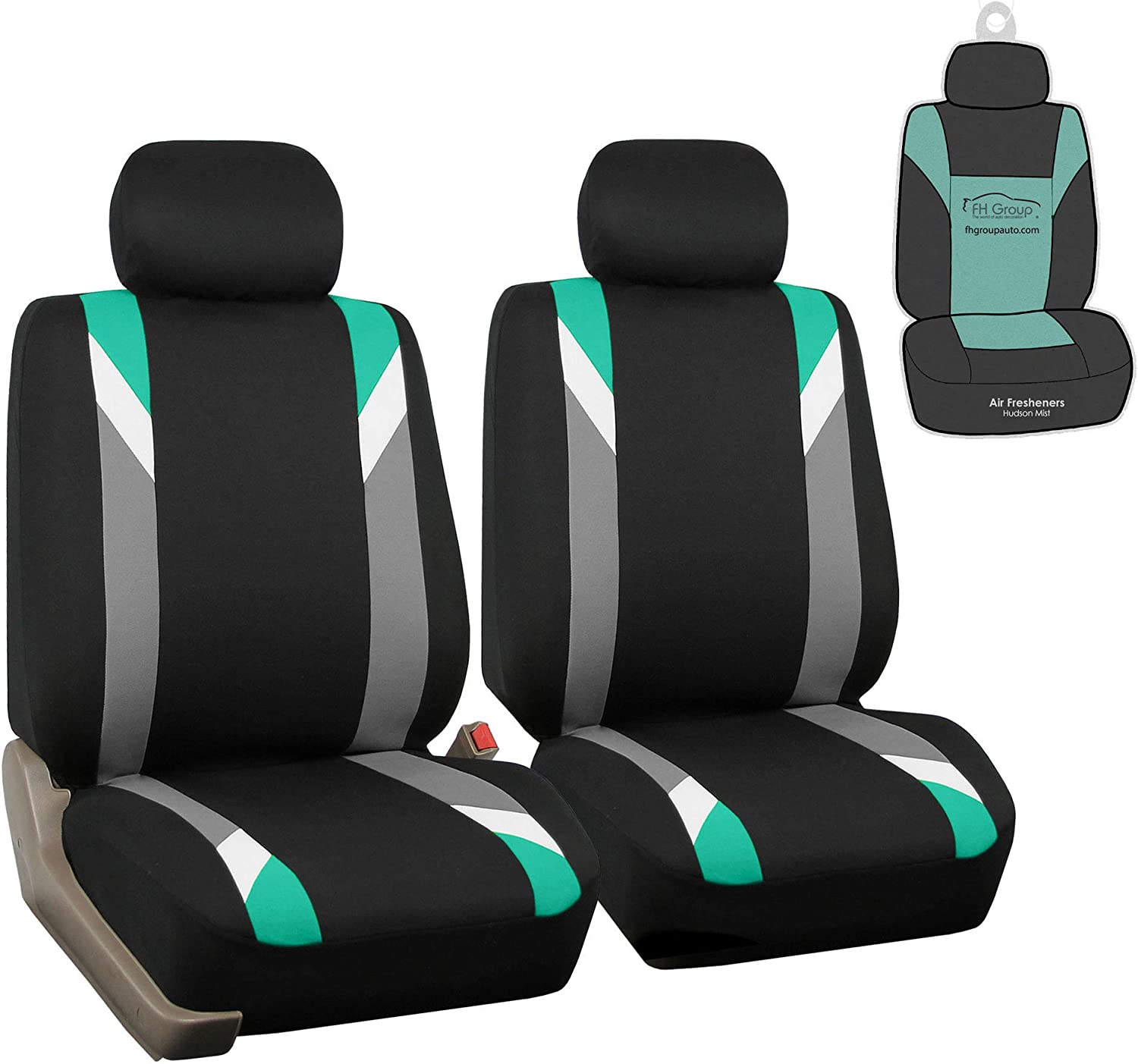 FH Group FB033102 Premium Modernistic Pair Set Seat Covers Mint/Black with Gift - Fit Most Car, Truck, SUV, or Van
