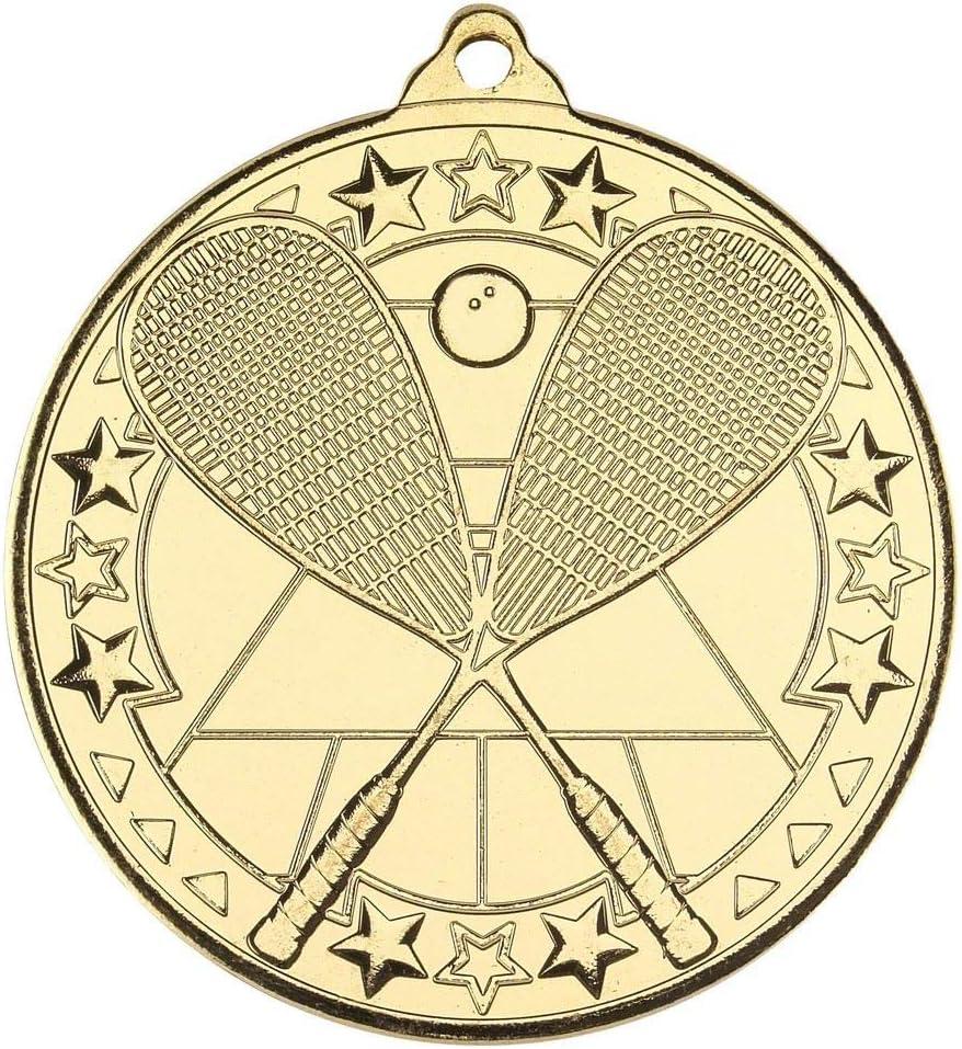 Lapal Dimension Medalla de Ping Pong, diseño de Estrella Tri, Color Dorado, 2 Pulgadas, Paquete de 10