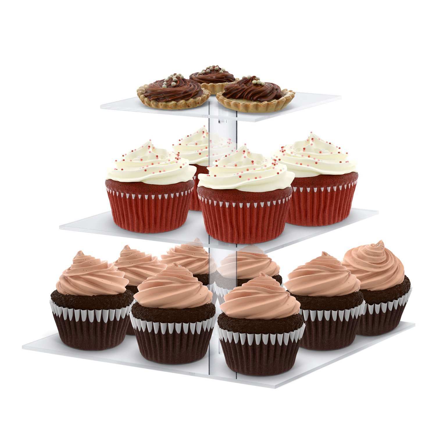 utenlid 4 tier square stacked party cupcake and