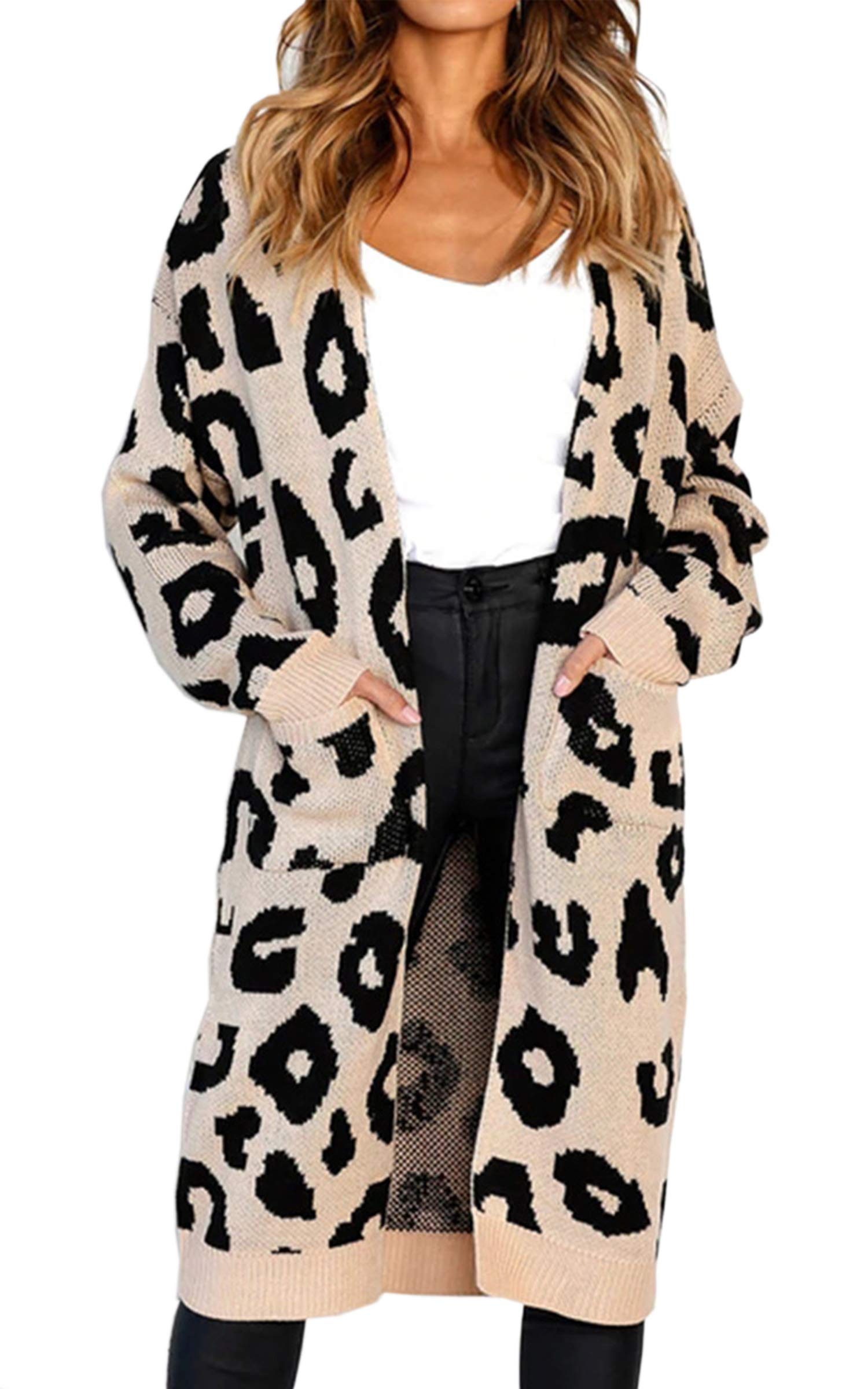 Angashion Women's Long Sleeves Leopard Print Knitting Cardigan Open Front Warm Sweater Outwear Coats with Pocket Khaki S