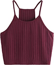 4fb3844a4c SheIn Women's Summer Basic Sexy Strappy Sleeveless Racerback Crop Top