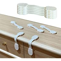 Baby&Child Proofing Safety Strap Locks with 3M ADHESIVES  Drawer, Fridge, Cabinets,Toilet, Dishwasher   Finger Protector…