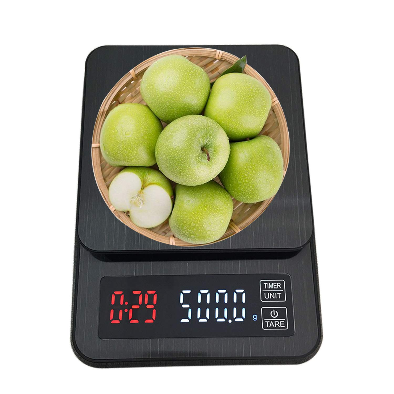 Small Food Scale Grams Ounces Pounds with Timer,Digital Kitchen Scale USB Charging/ AAA Batteries Operated, 0.5gram/ 5KG, Mini Espresso Coffee Scale