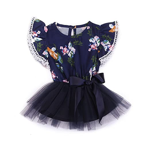 1556a0a3813 Newborn Infant Baby Girl Ruffle Sleeve Lace Floral Top Tutu Dress with  Bowknot (Navy Blue