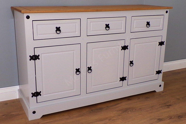 Mercers Furniture Trade Corona Grey Painted Large 3 Door 3 Drawer Sideboard Light Fiesta Wax