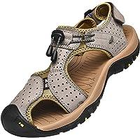 Rismart Hombre Punta Cerrado Gancho y Bucle Al Aire Libre Excursionismo Cuero Zapatos Sandalias y Chanclas