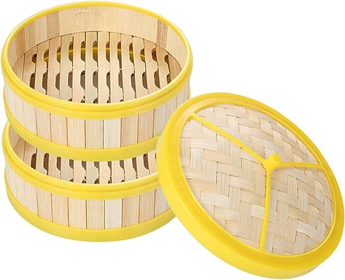 Minmi Vaporera de bambú,vaporera de bambú con Bordes de plástico,té de la mañana Comercial,Dim Sum,Bolas de Masa hervida,vapores domésticos,2 jaulas y 1 Funda