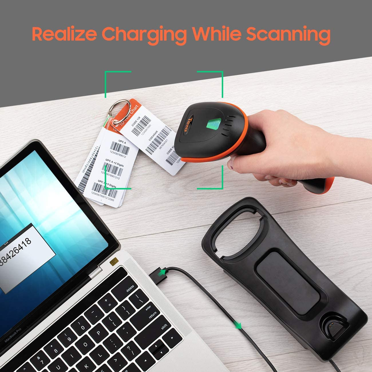 Tera 2D Barcode Scanner with Adjustable Folding Stand and Charging Cradle Wall Mountable 2.4G Wireless /& USB 2.0 Wired QR Bar Code Reader with Vibration Alert