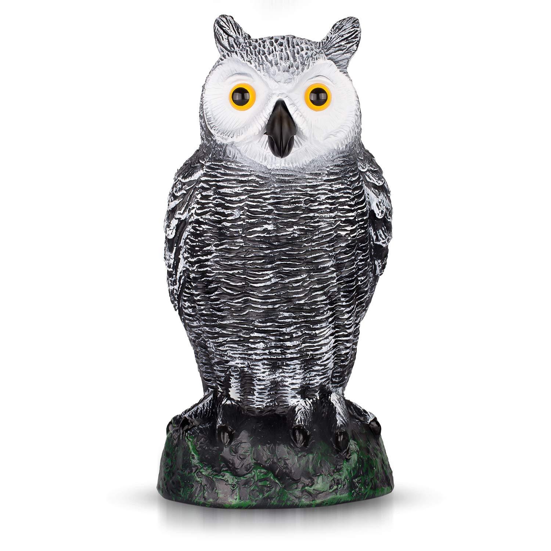 "briteNway Ultimate Scarecrow Owl Decoy Statue Realistic Fake Owl Outdoor Pest & Bird Deterrent, Hand-Painted Garden Protector, Scares Away Squirrels, Pigeons, Rabbits & More – 10,5"" Hollow Design"