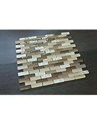 1/2 x 2 Brick Pattern Glass Tile; Color: Brown, Biege & White Glass Tile