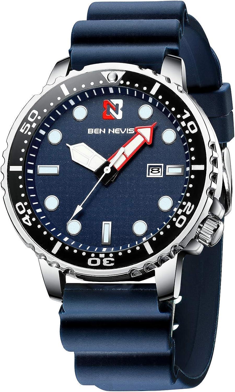 Reloj de Pulsera de Cuarzo analógico para Hombre, diseño Militar, Resistente al Agua, con Correa de Silicona, Color Azul Marino