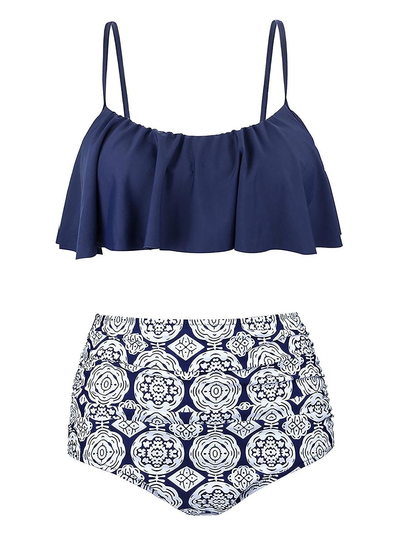 Century Star Two Piece Swimwear Athletic Push up Criss Cross Halter Bikini with Boyshort Swimsuits for Women CUES1754G0000SN