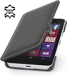 StilGut Book Type avec Clip, Housse, étui, Coque en Cuir pour Microsoft Lumia 640 & Lumia 640 Double SIM (Compatible avec la Version en Noir et Blanc Seulement), en Noir