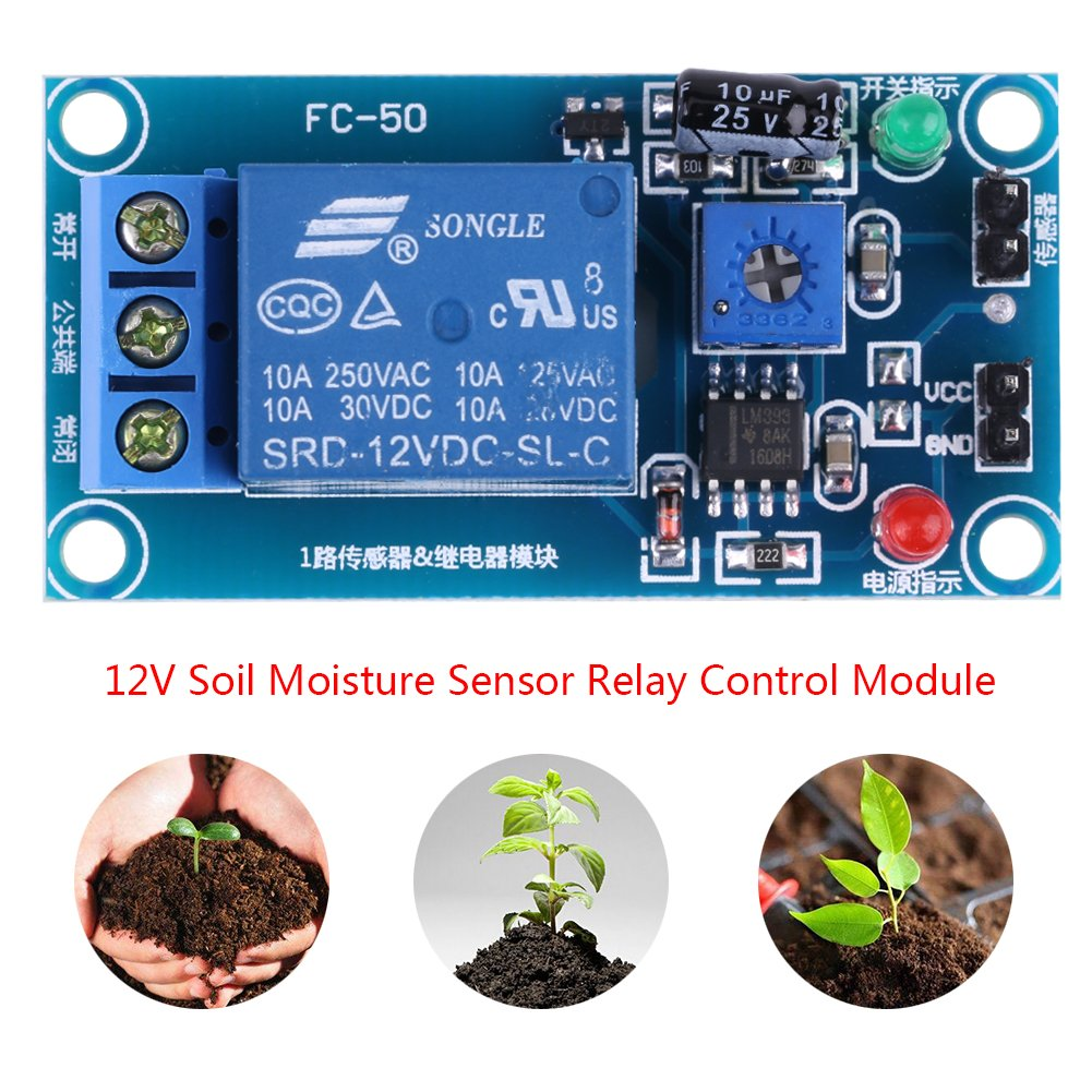 DC12V Soil Moisture Sensor Relay Control Module Automatic Watering Switch