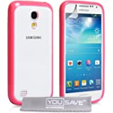 Yousave Accessories Silicone Gel Cover Case for Samsung Galaxy S4 Mini - Hot Pink/Clear