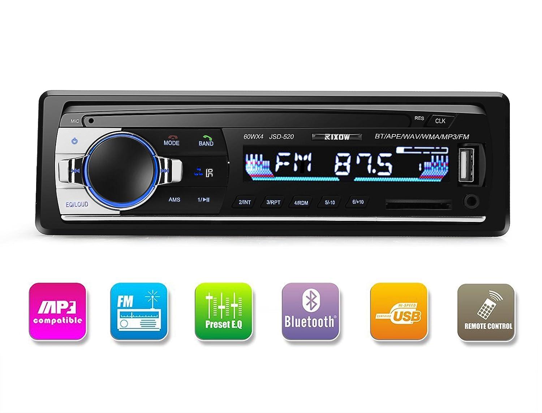 Autoradio Rixow Estéreo Bluetooth de Coche Reproductor Audio MP el Tablero Ajustable