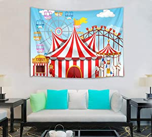 HVEST Ferris Wheel Tapestry, Cartoon Amusement Park with Circus Roller Coaster Wall Hanging for Bedroom Living Room Dorm Decor,60Wx40H inches